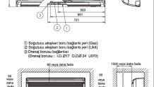Fujitsu VRF J Serisi/ İç Ünite Duvar Tipi Boyutları