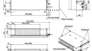 Fujitsu VRF J Serisi – İç Ünite Kanal Tipi (Kompakt) Boyutları