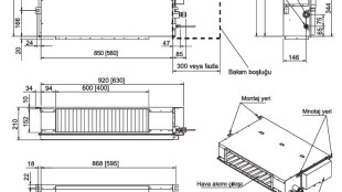 Fujitsu VRF J Serisi/ İç Ünite Kanal Tipi (Kompakt) Boyutları