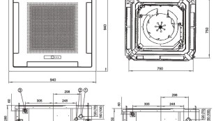 Fujitsu VRF J Serisi/ İç Ünite Kaset Tipi Boyutları